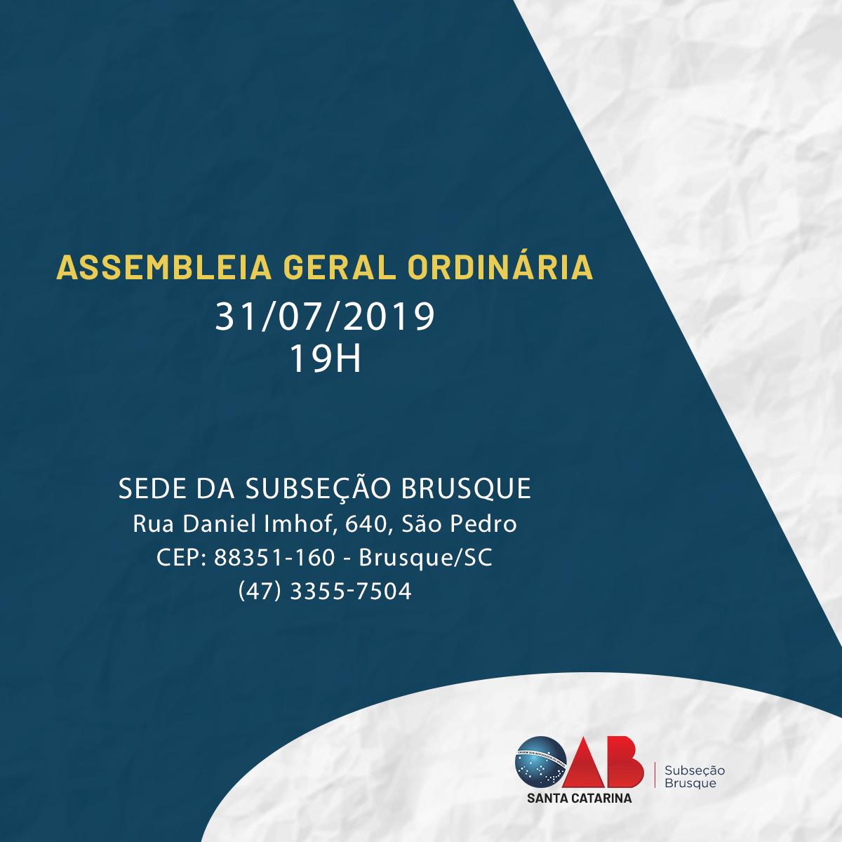 OAB Brusque realiza assembleia no dia 31 de julho