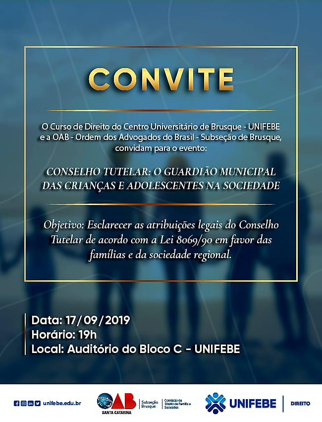 Comissão de Direito de Família da OAB Brusque e Curso de Direito da Unifebe promovem palestra sobre Conselho Tutelar