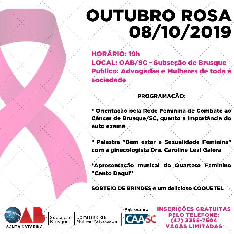 Comissão da Mulher Advogada realiza evento 'Outubro Rosa 2019' no dia 8