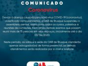 Comunicado OAB de Brusque