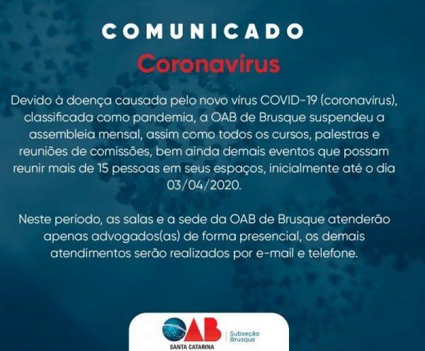 Comunicado OAB de Brusque
