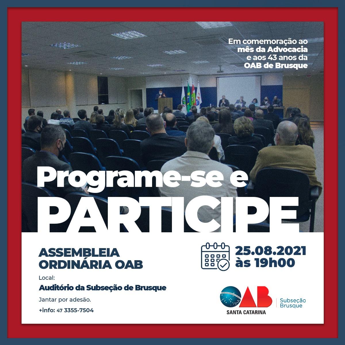 Assembleia Ordinária OAB - Agosto
